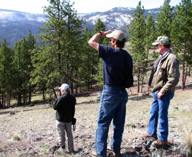 landowners look out over their woods in Oregon